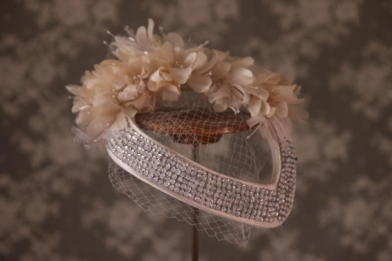 Handmade silk flowers and vintage sequin band with veil